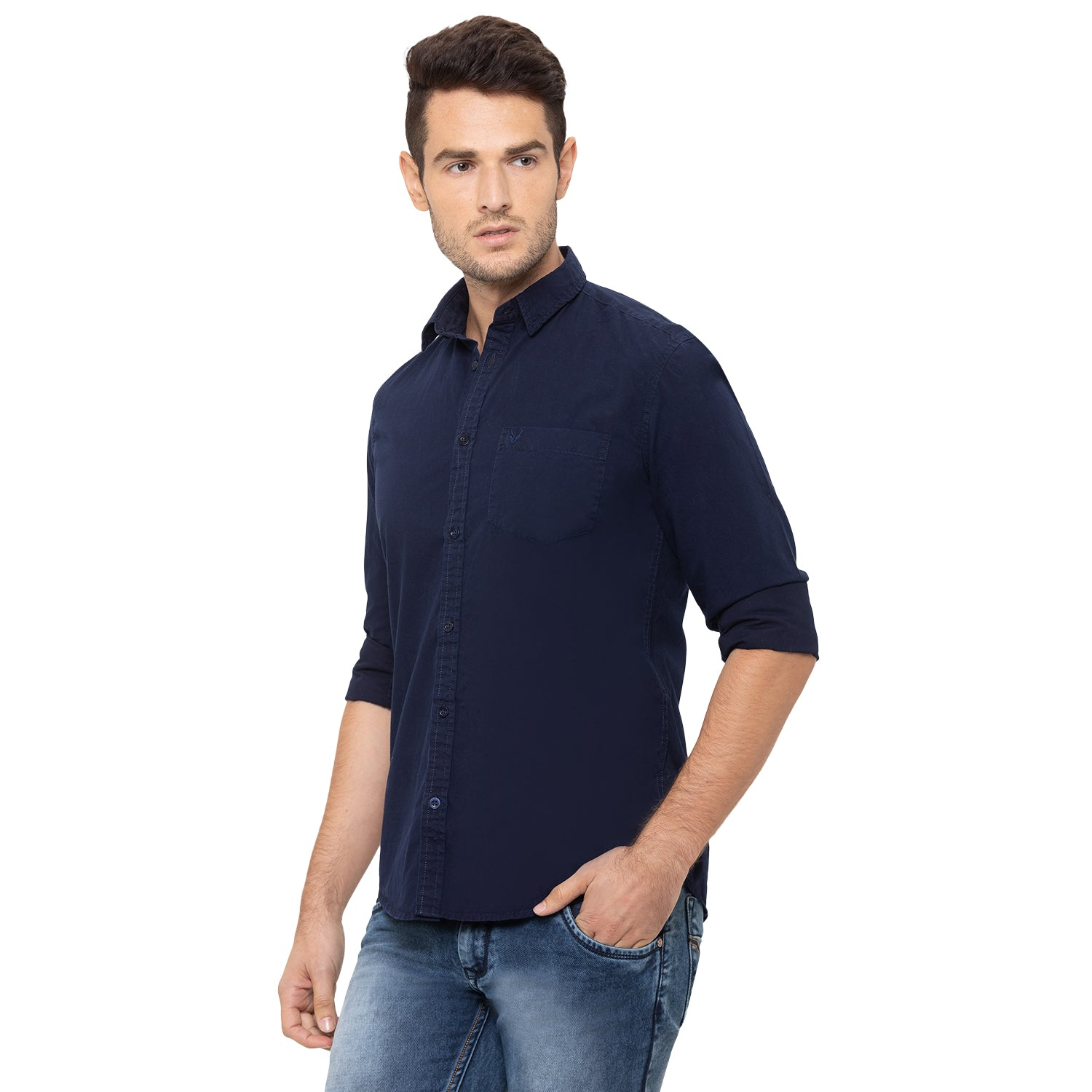 Globus Navy Blue Solid Shirt-4