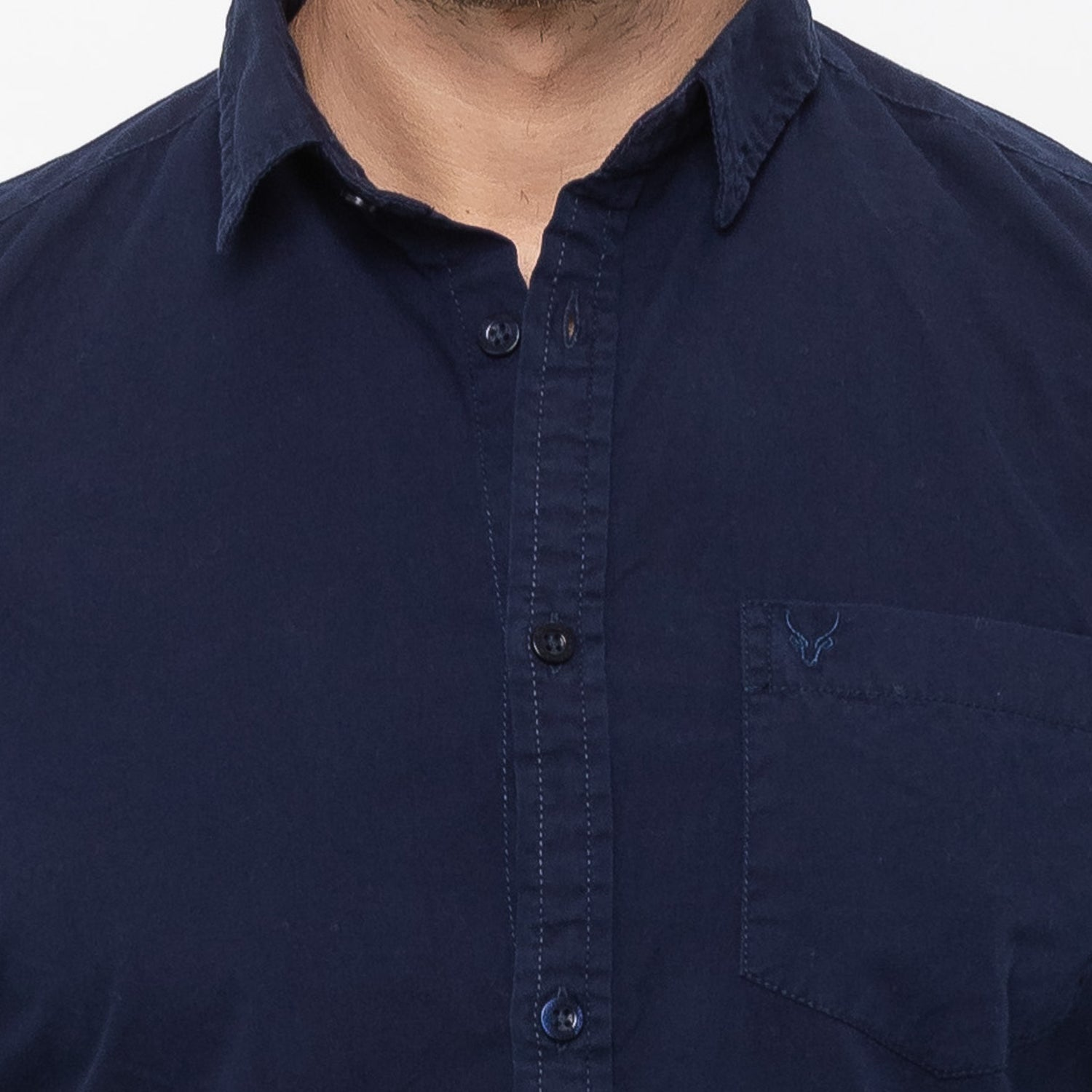 Globus Navy Blue Solid Shirt-5
