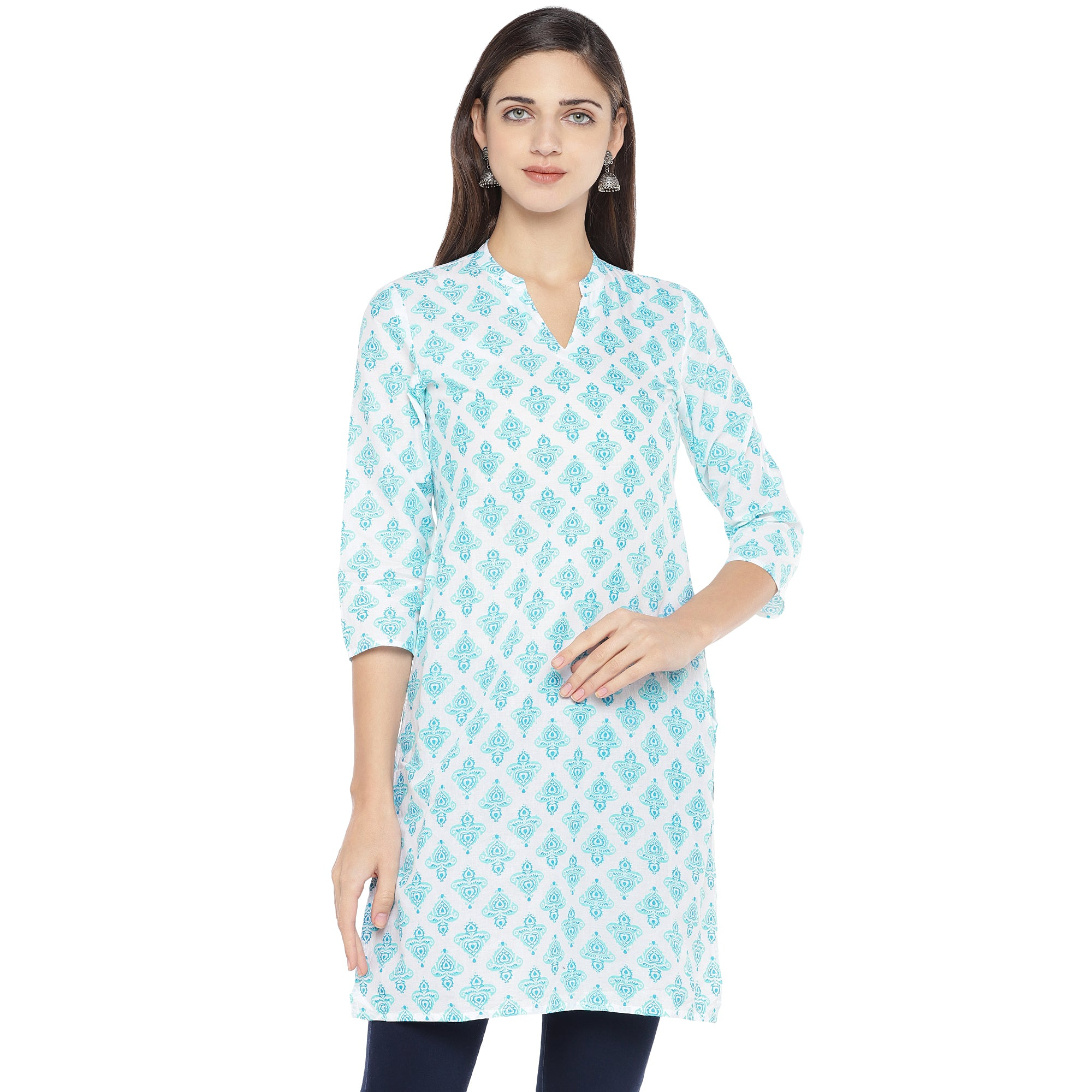 White & Turquoise Blue Printed Straight Kurta-1