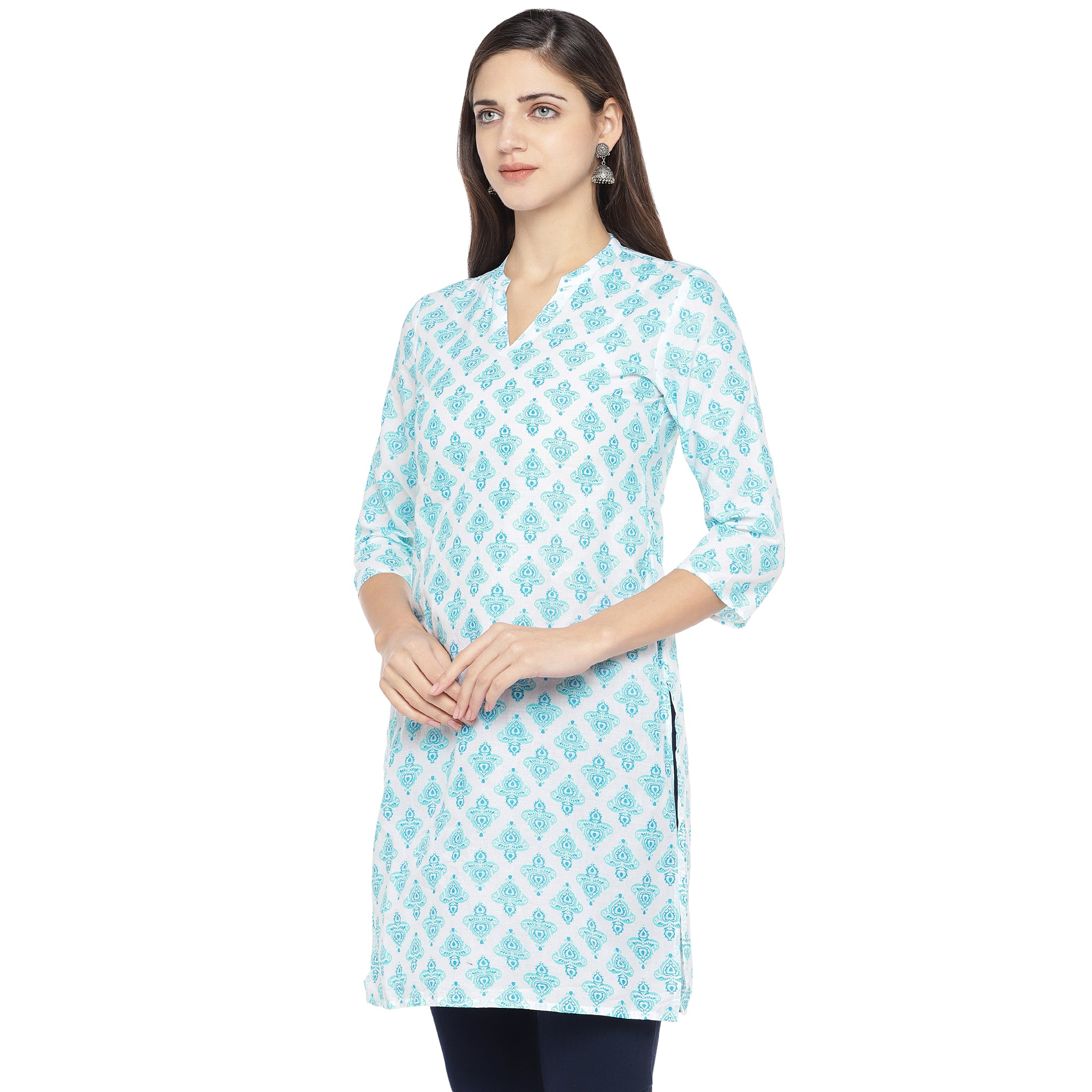 White & Turquoise Blue Printed Straight Kurta-2