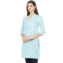 Load image into Gallery viewer, White & Turquoise Blue Printed Straight Kurta-2