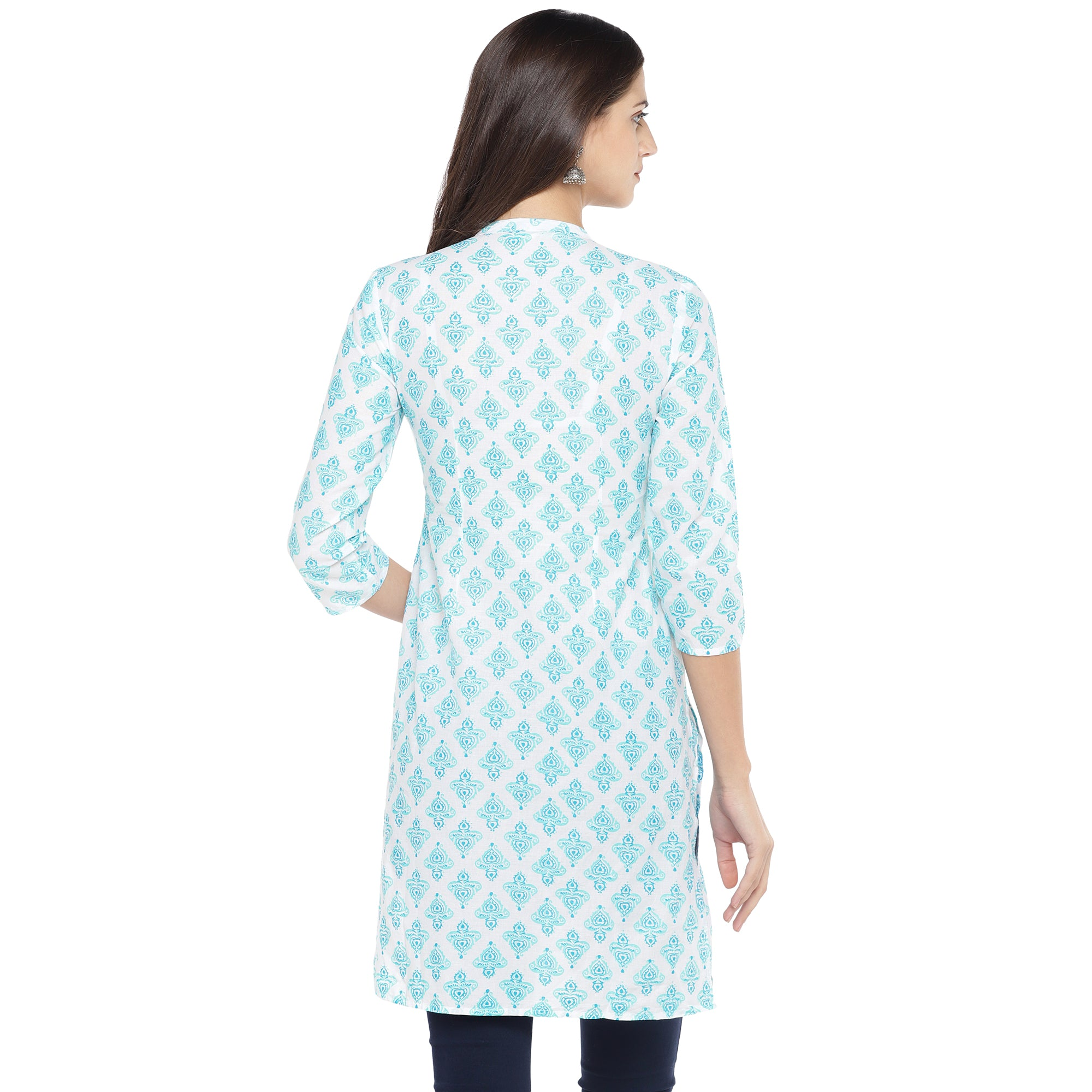 White & Turquoise Blue Printed Straight Kurta-3