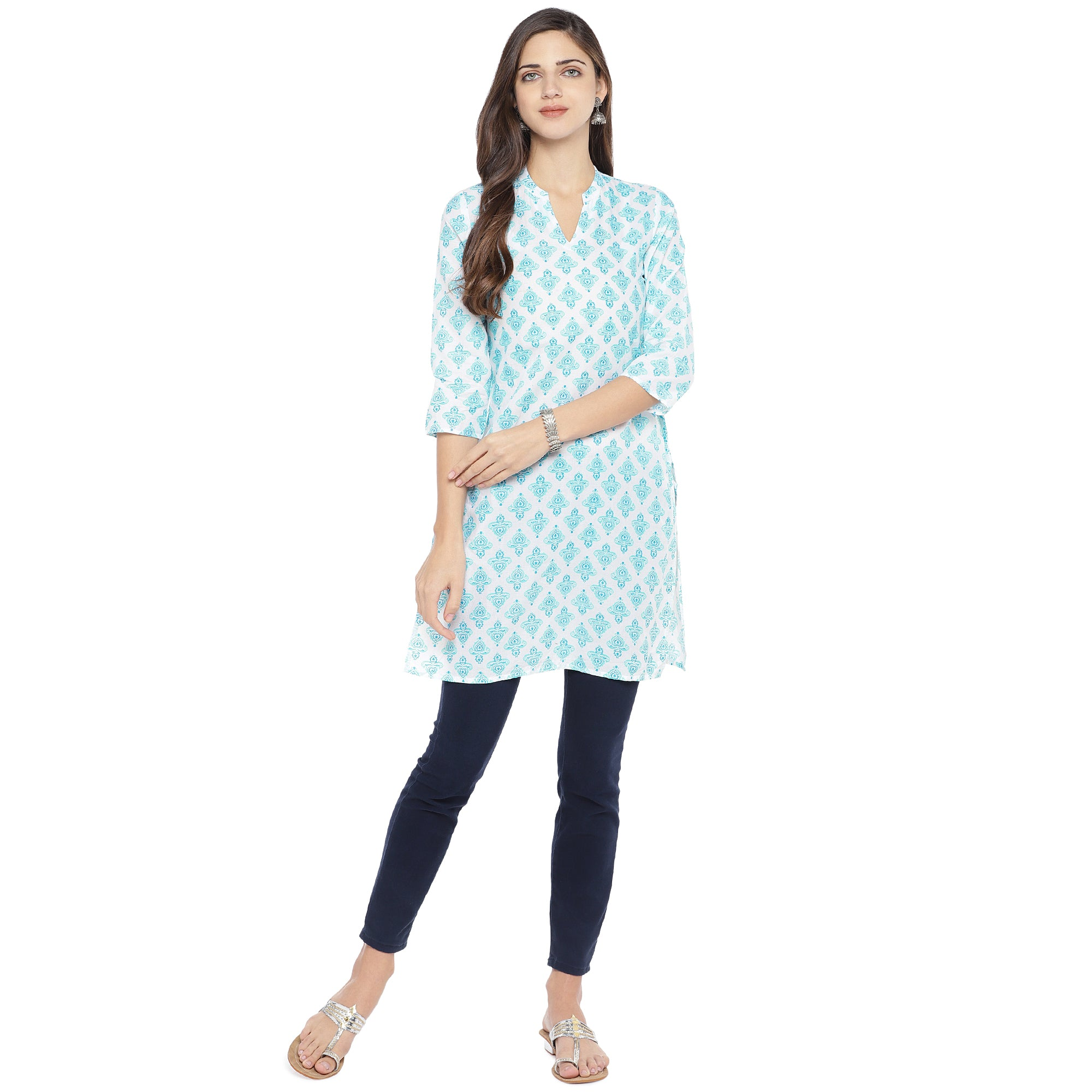 White & Turquoise Blue Printed Straight Kurta-4