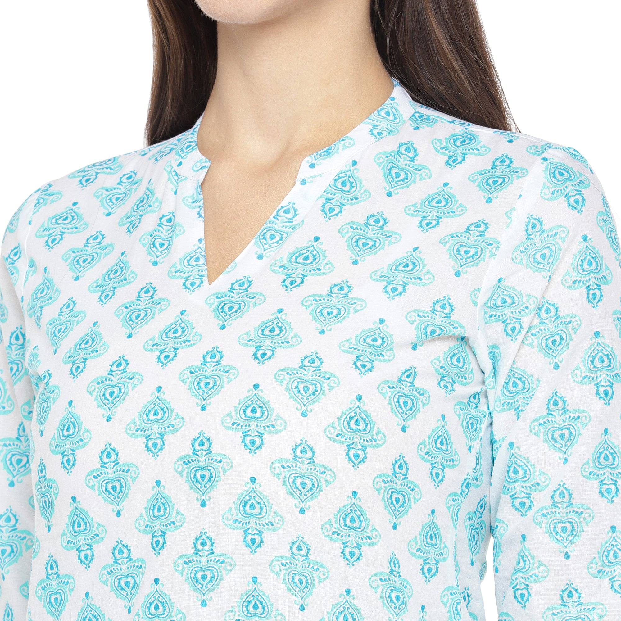White & Turquoise Blue Printed Straight Kurta-5