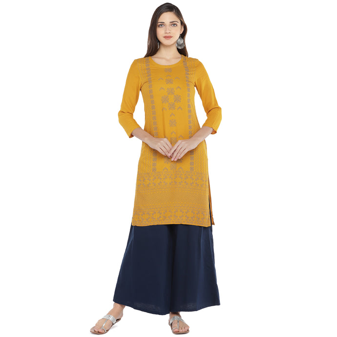 Mustard Yellow & Grey Printed Straight Kurta-1