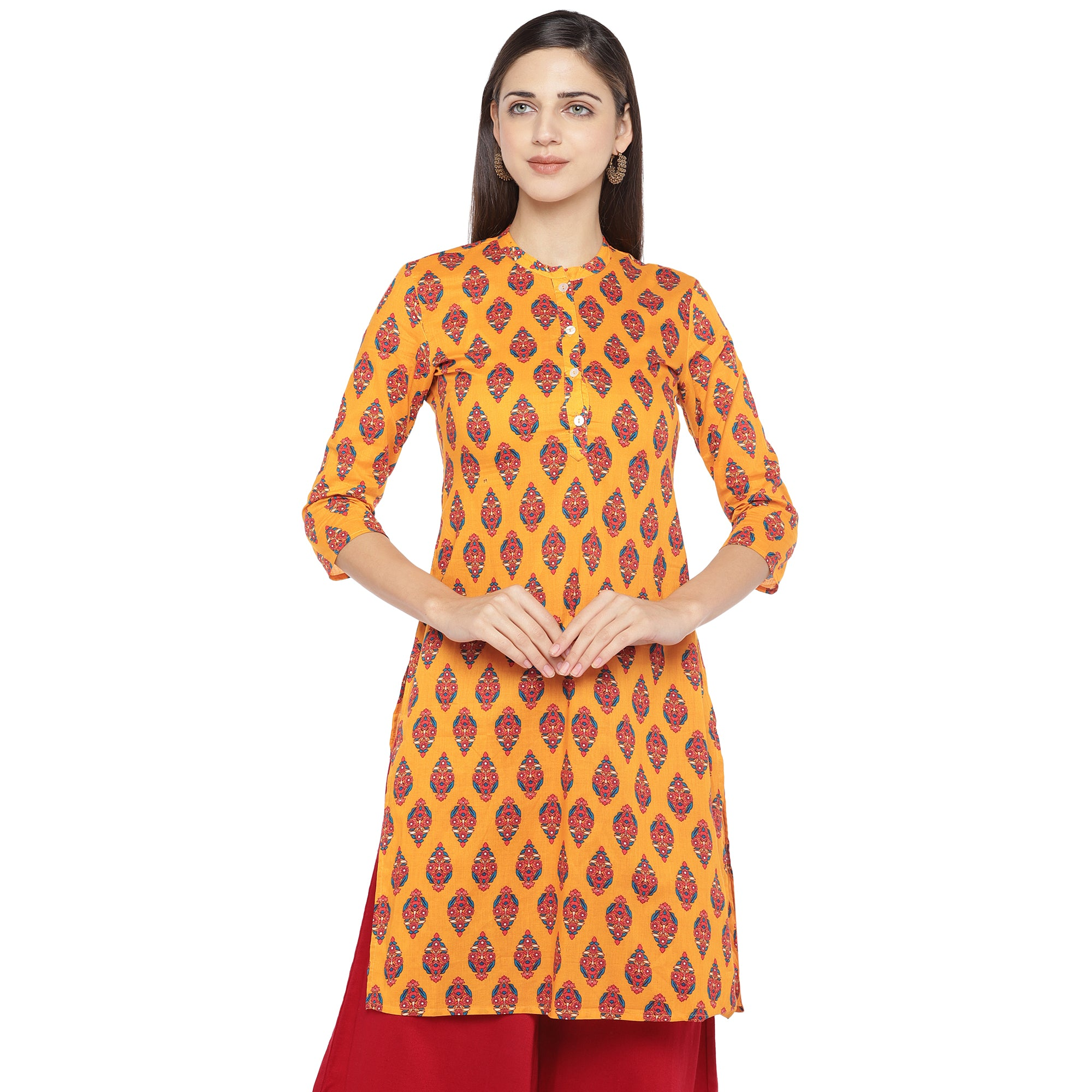 Mustard Orange & Red Printed A-Line Kurta-1