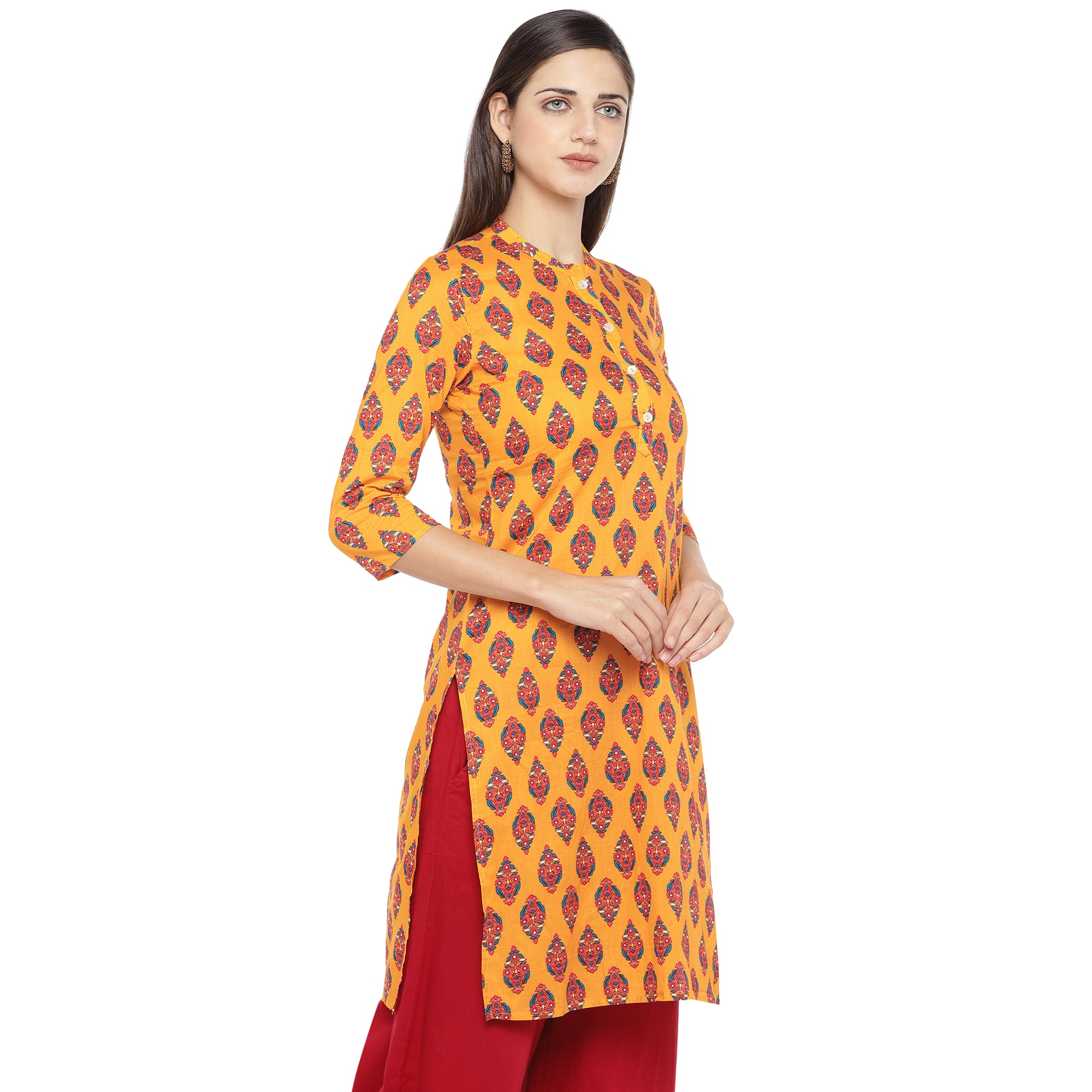 Mustard Orange & Red Printed A-Line Kurta-2