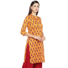 Load image into Gallery viewer, Mustard Orange & Red Printed A-Line Kurta-2