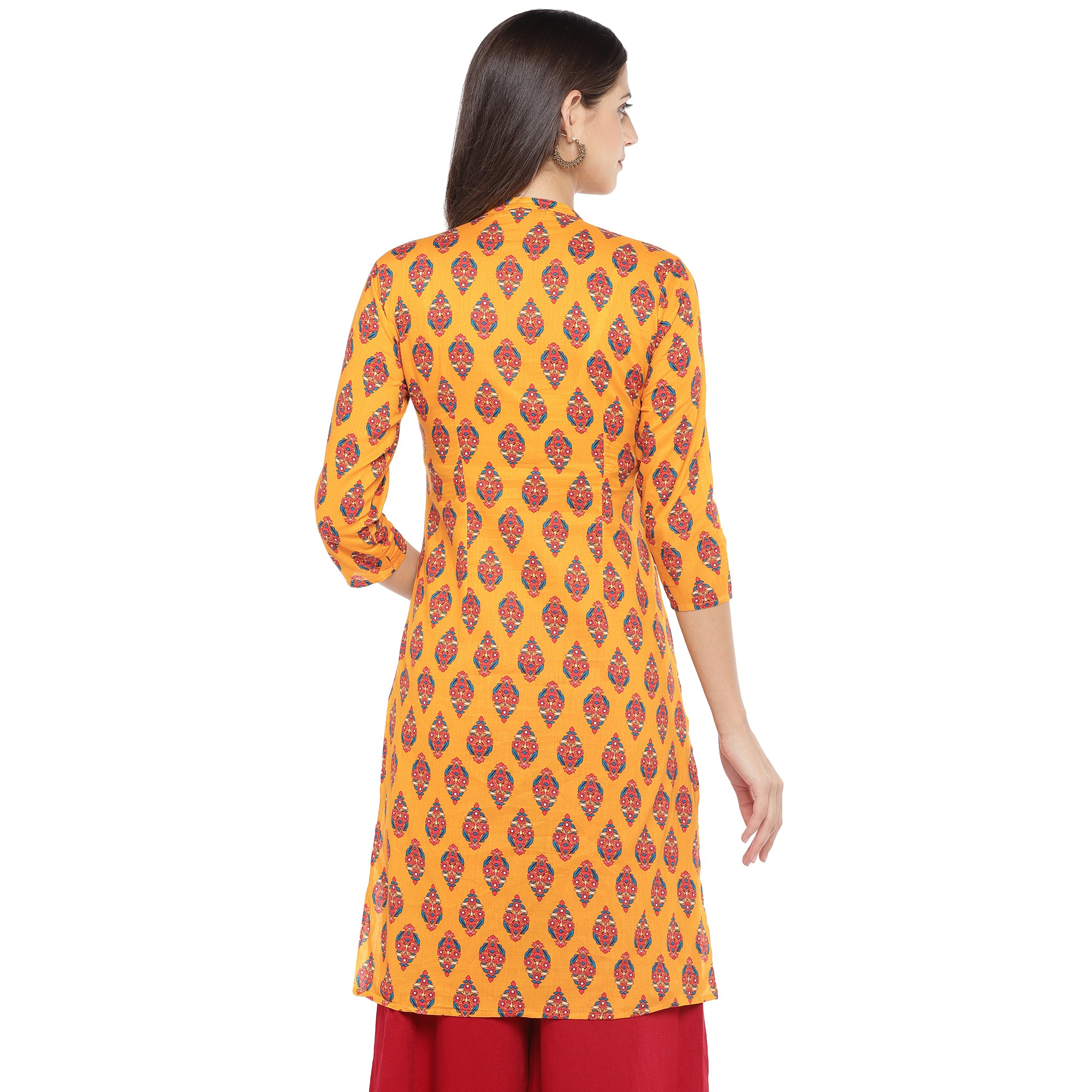 Mustard Orange & Red Printed A-Line Kurta-3