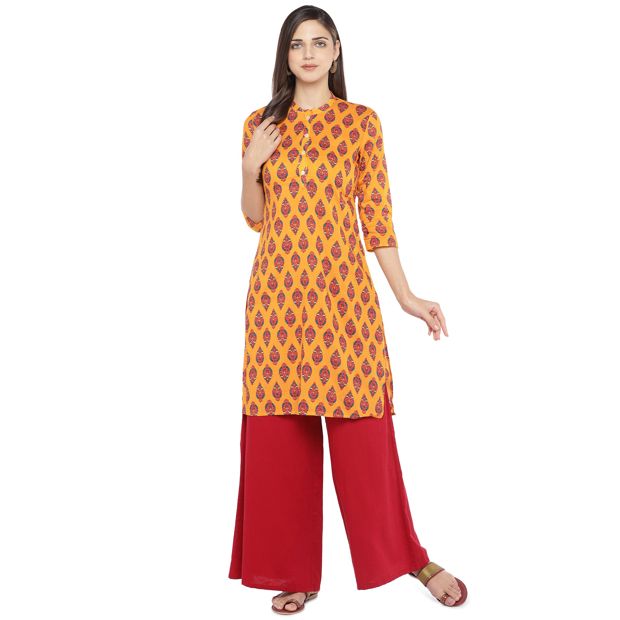 Mustard Orange & Red Printed A-Line Kurta-4