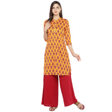 Load image into Gallery viewer, Mustard Orange & Red Printed A-Line Kurta-4