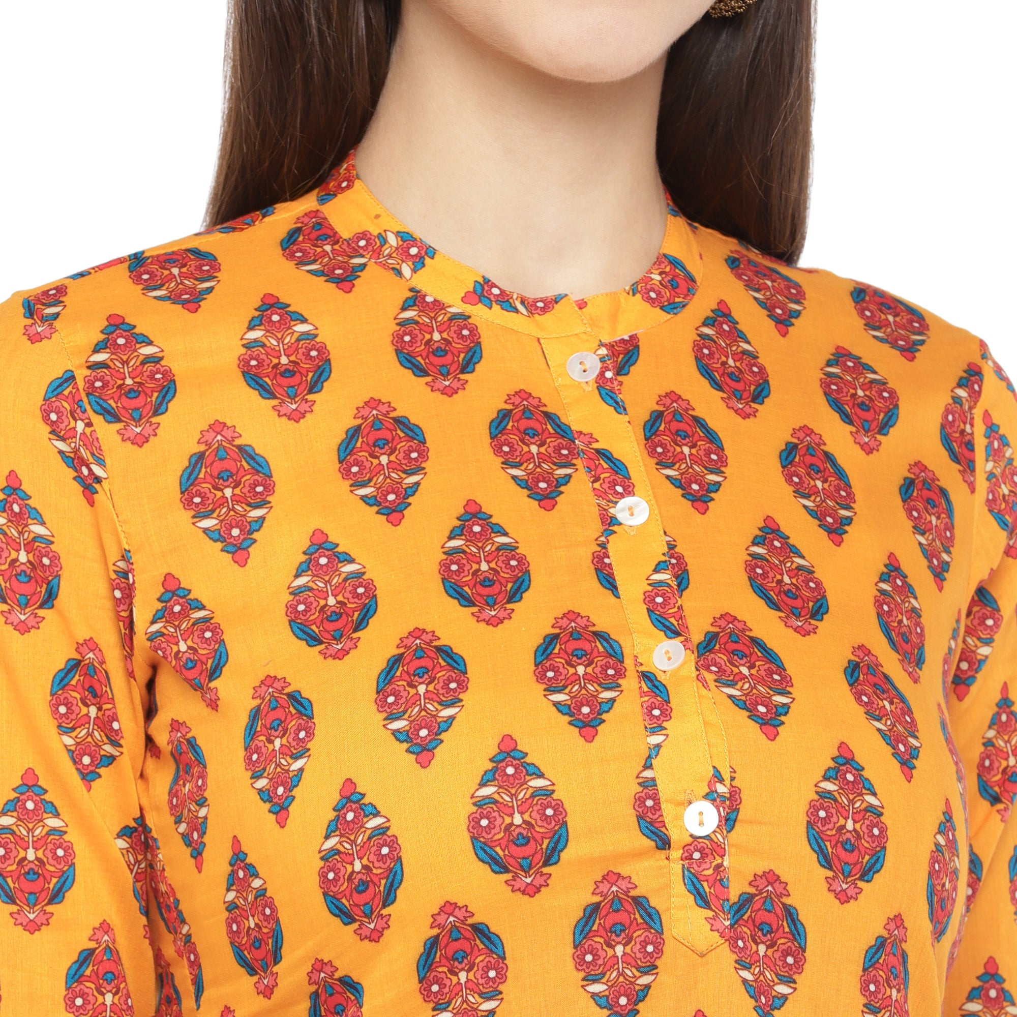 Mustard Orange & Red Printed A-Line Kurta-5