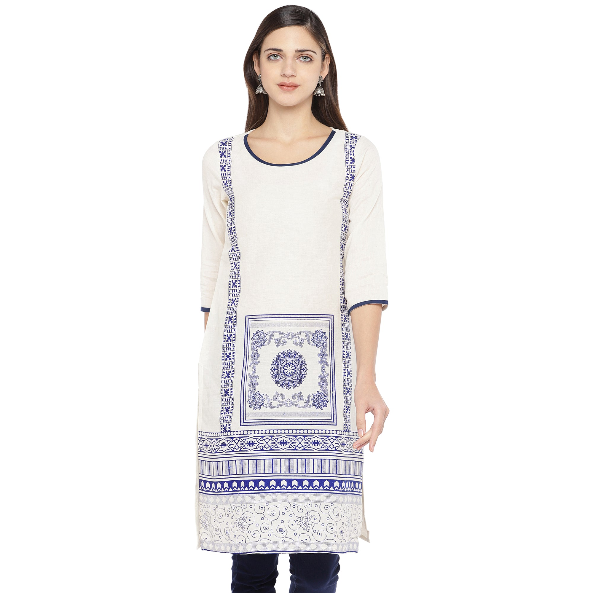 White & Navy Blue Printed Straight Kurta-1