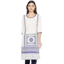 Load image into Gallery viewer, White & Navy Blue Printed Straight Kurta-1