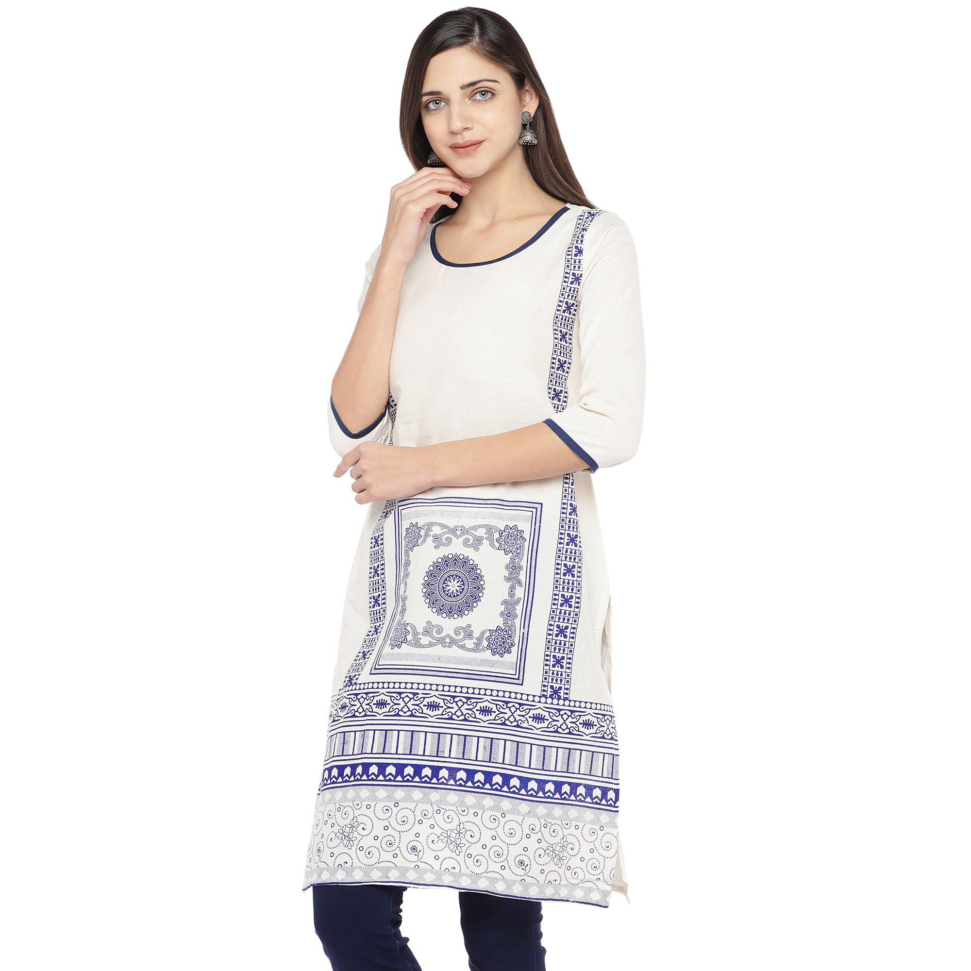 White & Navy Blue Printed Straight Kurta-2