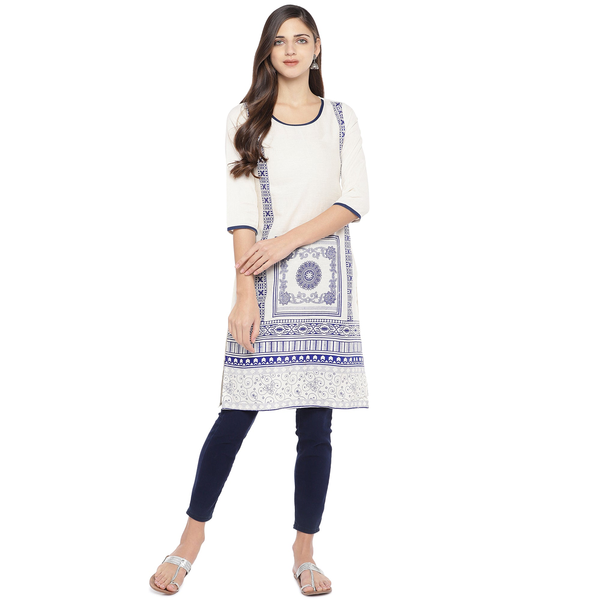 White & Navy Blue Printed Straight Kurta-4