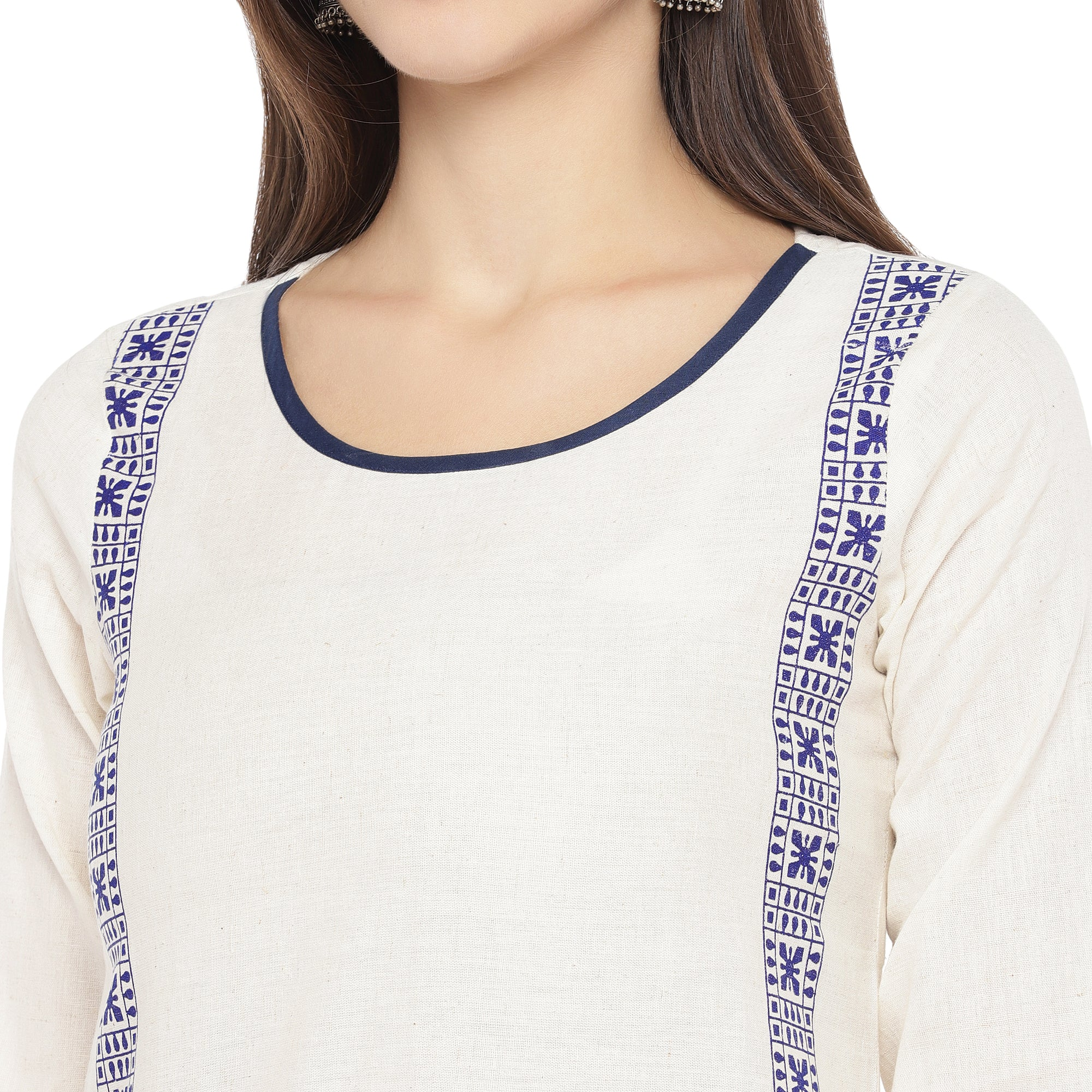 White & Navy Blue Printed Straight Kurta-5
