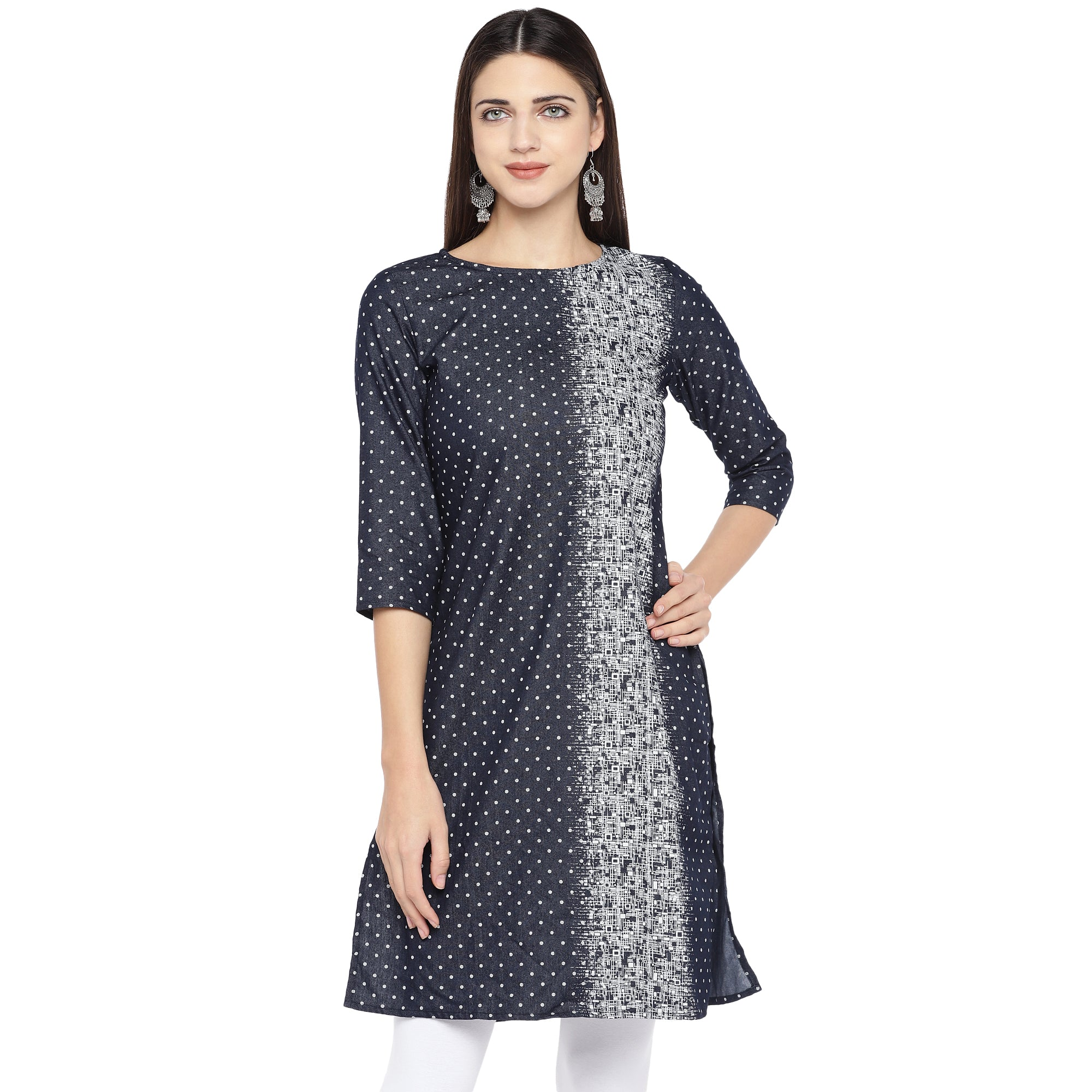 Navy Blue & White Printed Straight Kurta-1