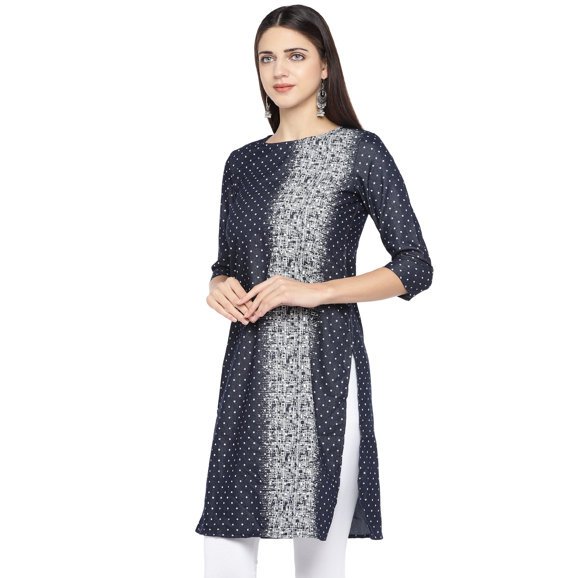 Navy Blue & White Printed Straight Kurta-2