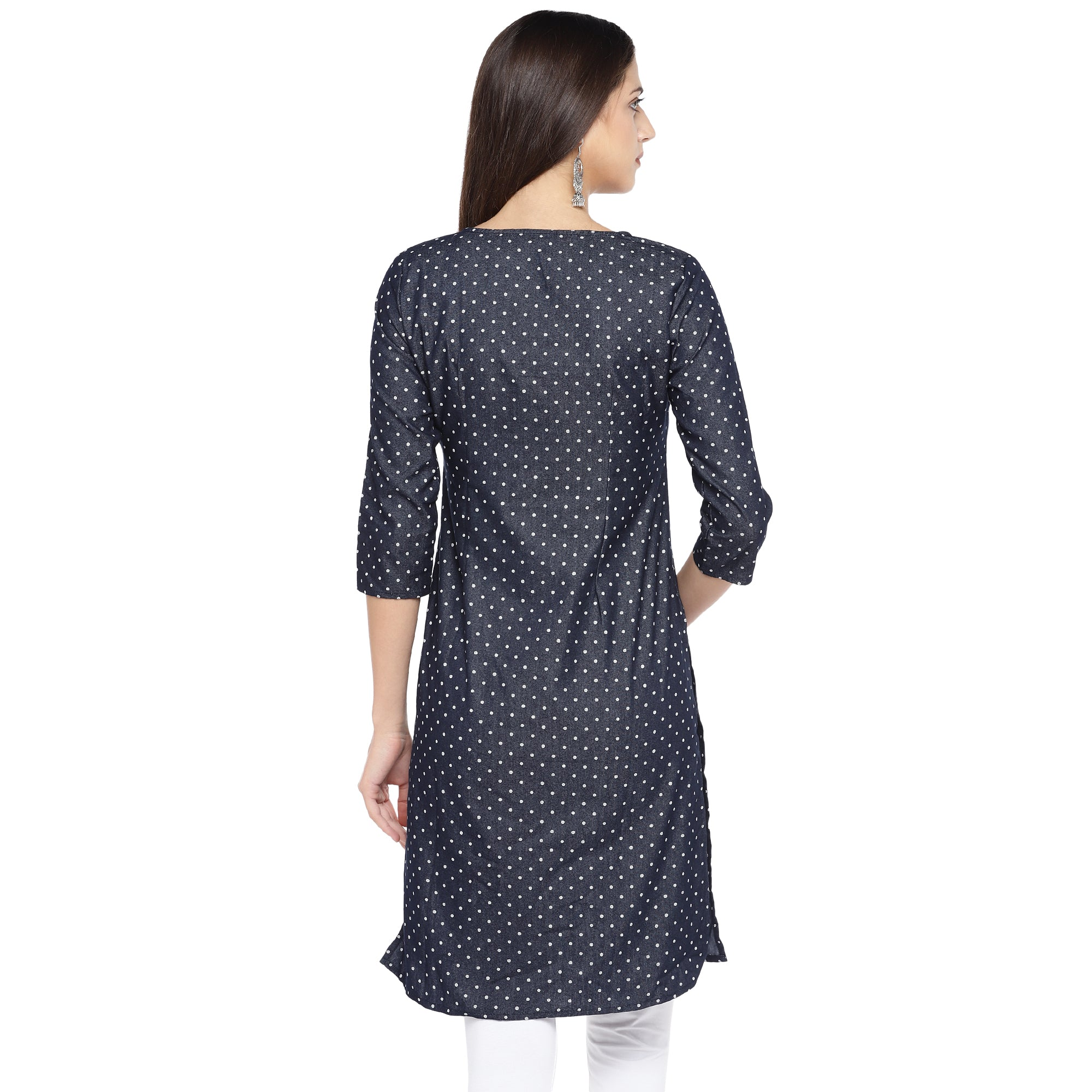 Navy Blue & White Printed Straight Kurta-3