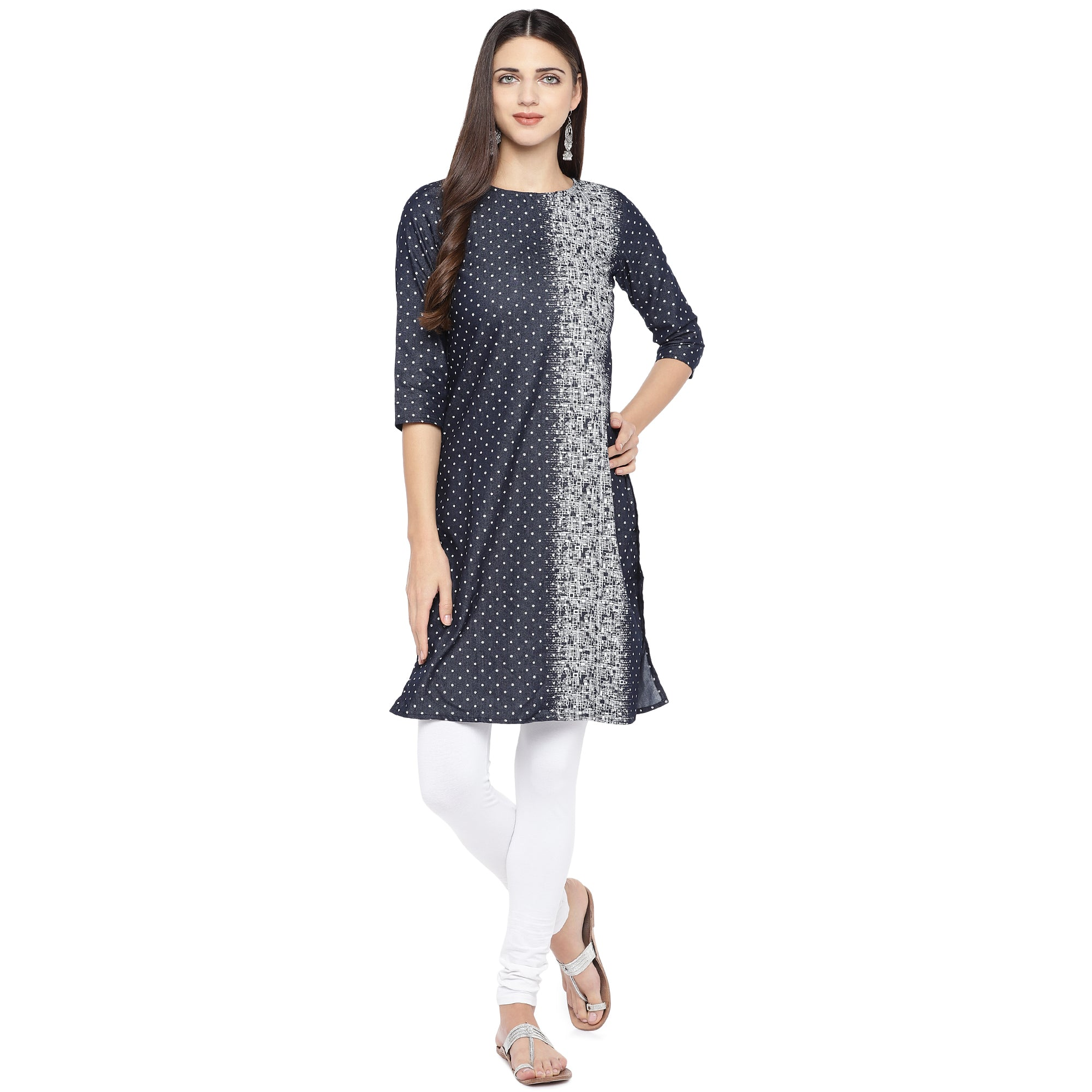Navy Blue & White Printed Straight Kurta-4