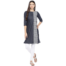 Load image into Gallery viewer, Navy Blue & White Printed Straight Kurta-4