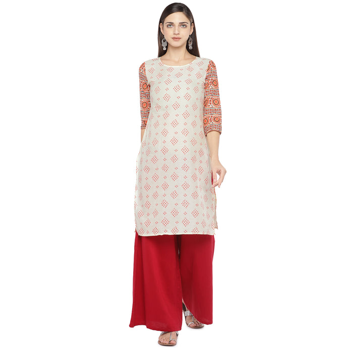 Cream-Coloured Printed Straight Kurta-1