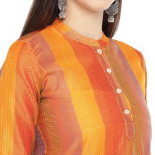 Load image into Gallery viewer, Orange Striped Straight Kurta-5