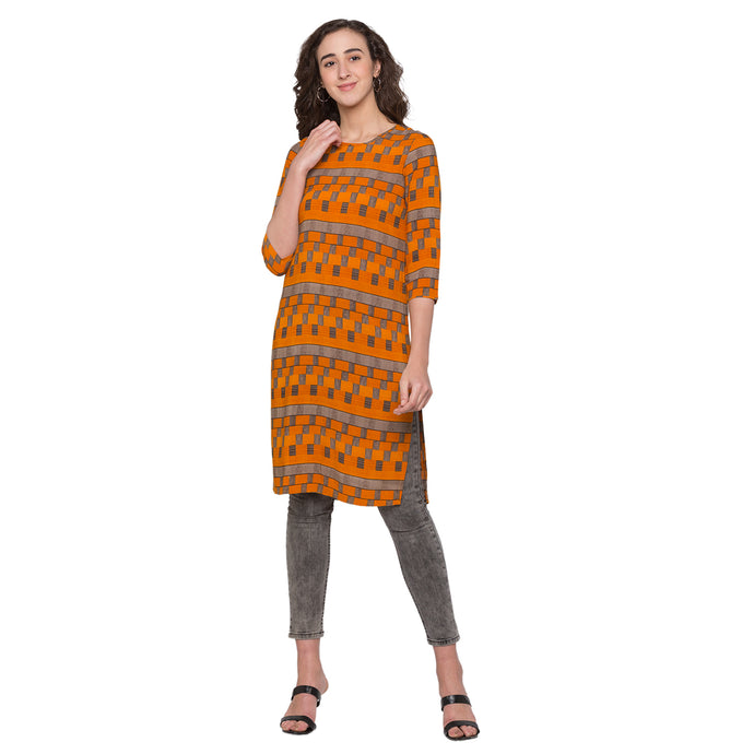 Globus Yellow Printed Kurta1