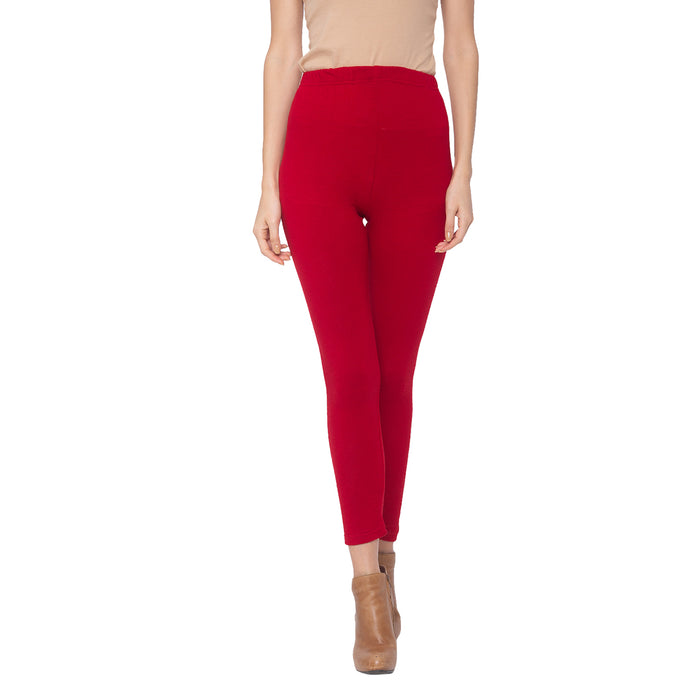 Globus Red Solid Leggins-1