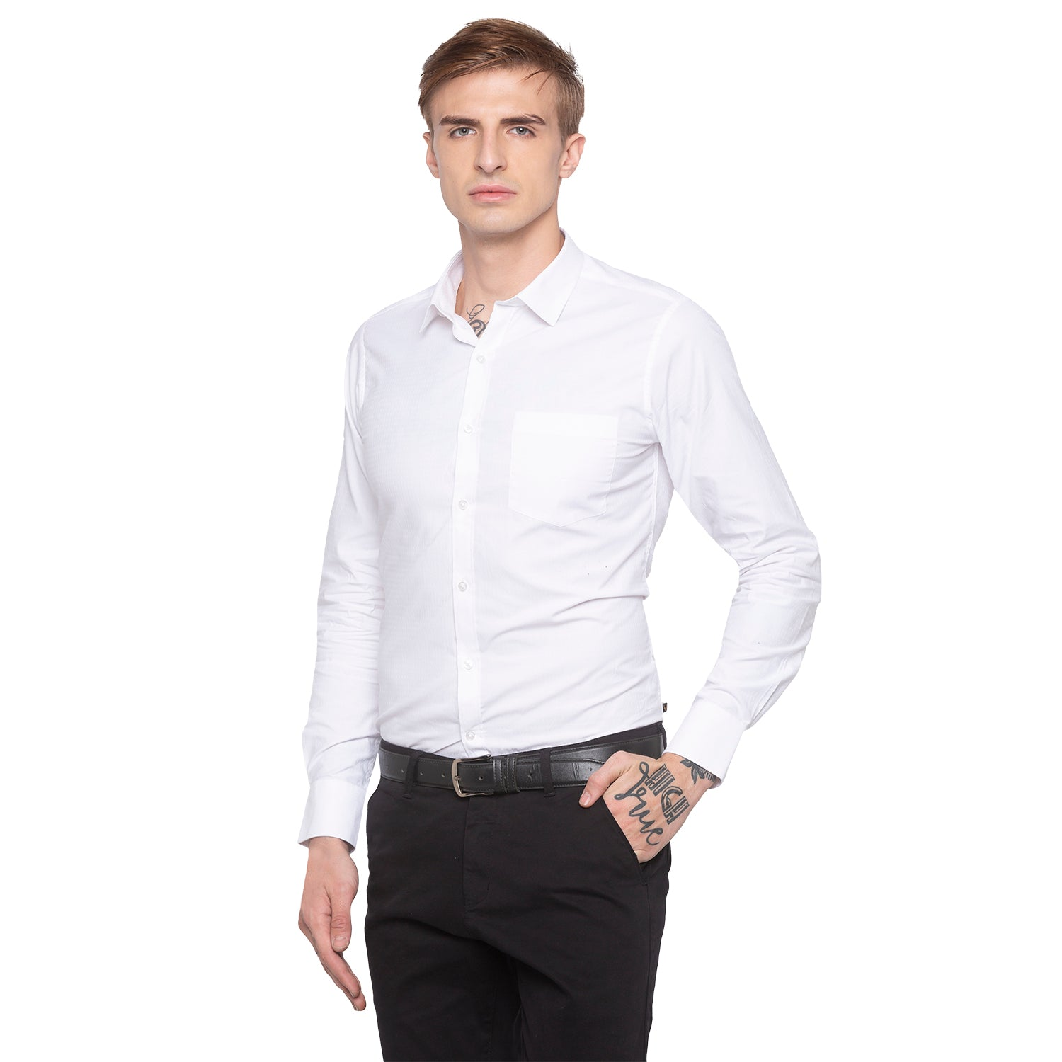Solid White Casual Shirt-1
