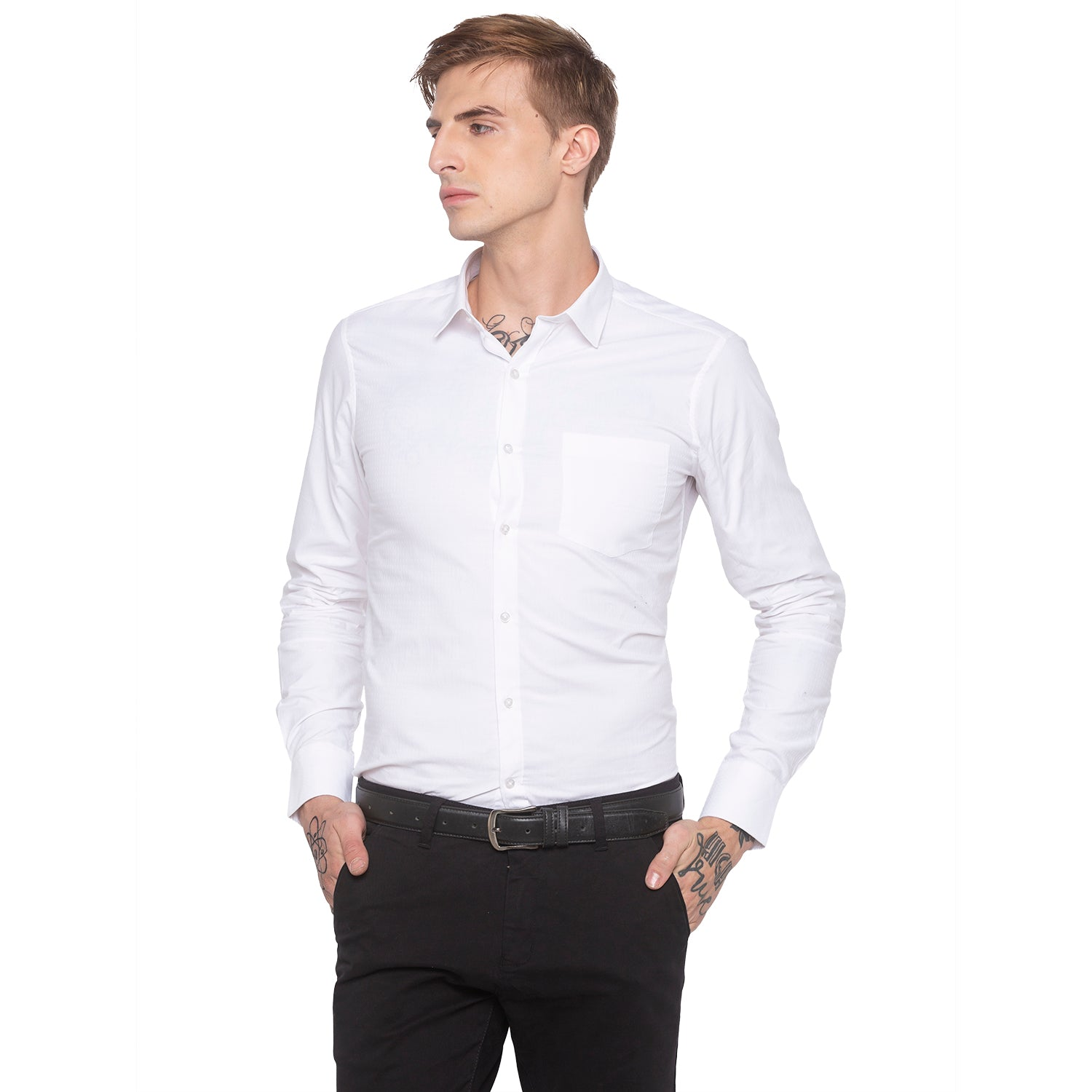 Solid White Casual Shirt-2