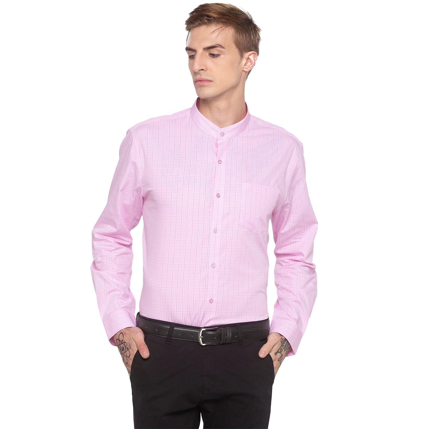 Checked Mandarin Collar Pink Shirt-1