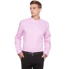 Load image into Gallery viewer, Checked Mandarin Collar Pink Shirt-1