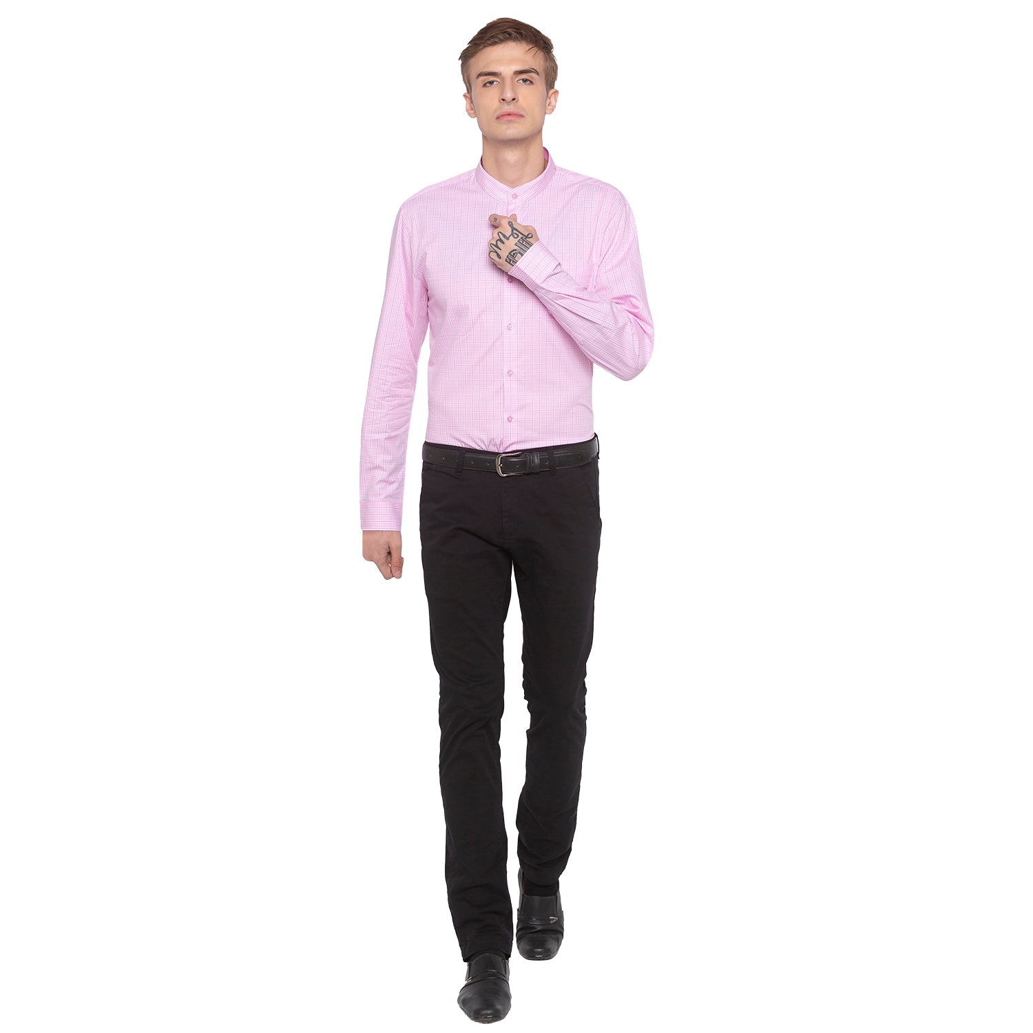 Checked Mandarin Collar Pink Shirt-4