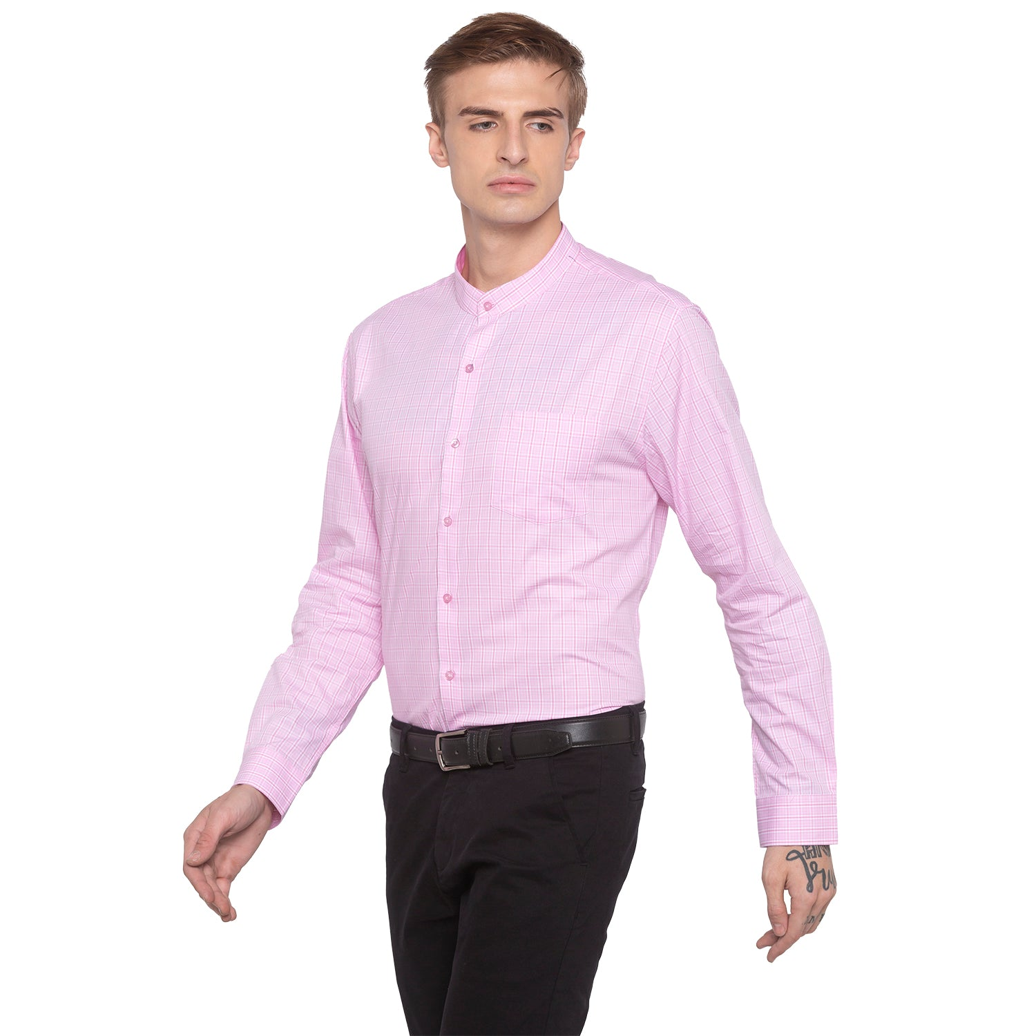 Checked Mandarin Collar Pink Shirt-2
