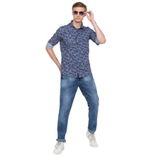 Load image into Gallery viewer, Floral Print Navy Blue Casual Shirt-4