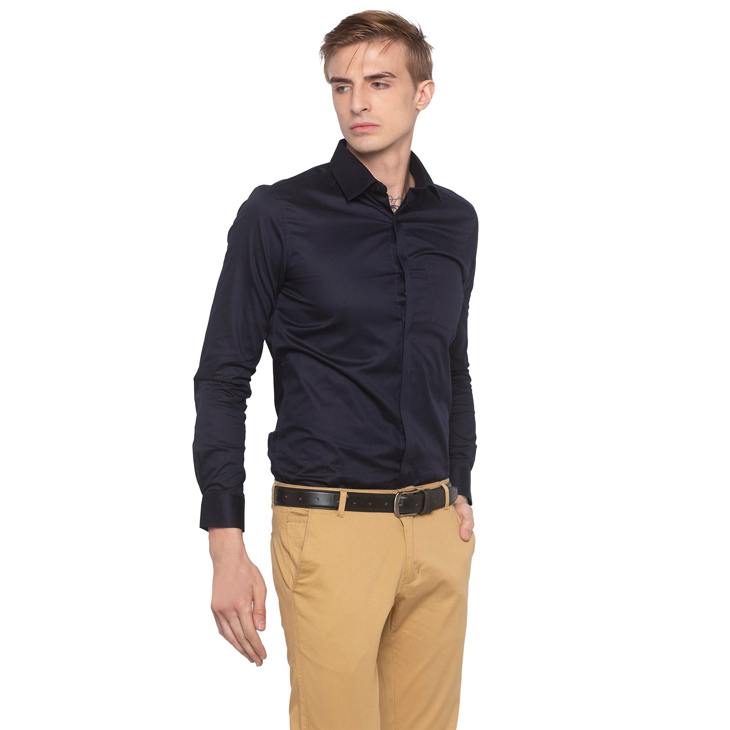 Solid Navy Blue Smart Casual Shirt-1