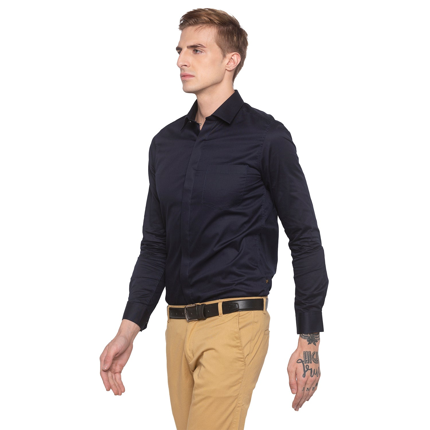 Solid Navy Blue Smart Casual Shirt-2