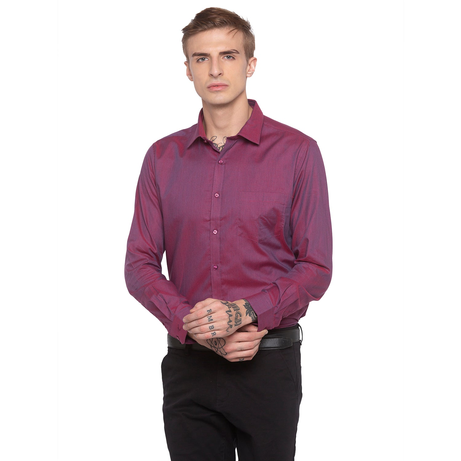 Solid Slim Fit Maroon Shirt-1