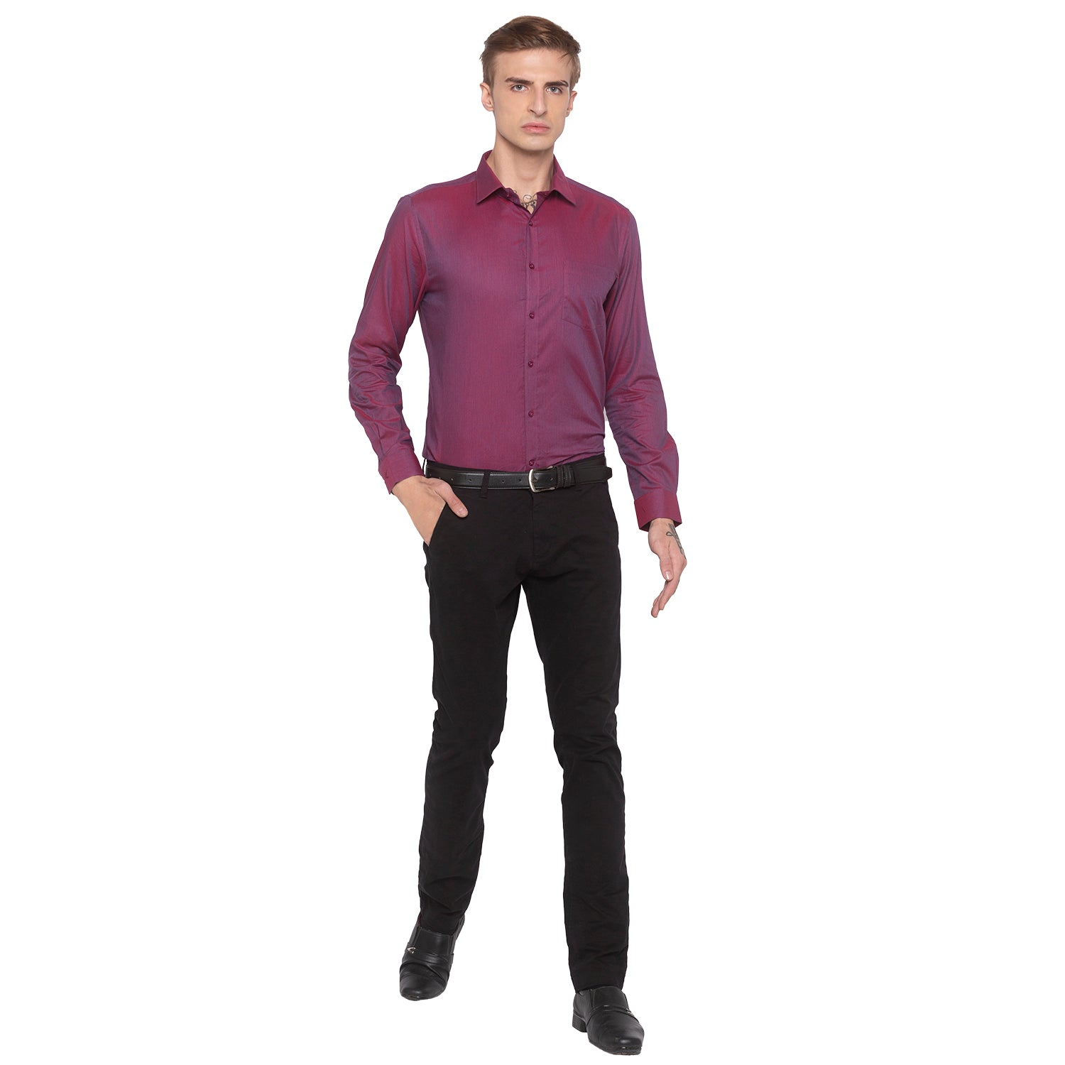 Solid Slim Fit Maroon Shirt-4