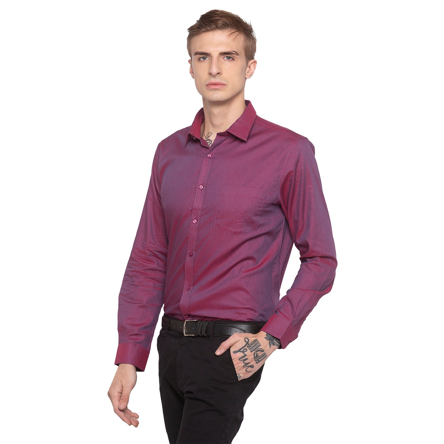 Solid Slim Fit Maroon Shirt-2