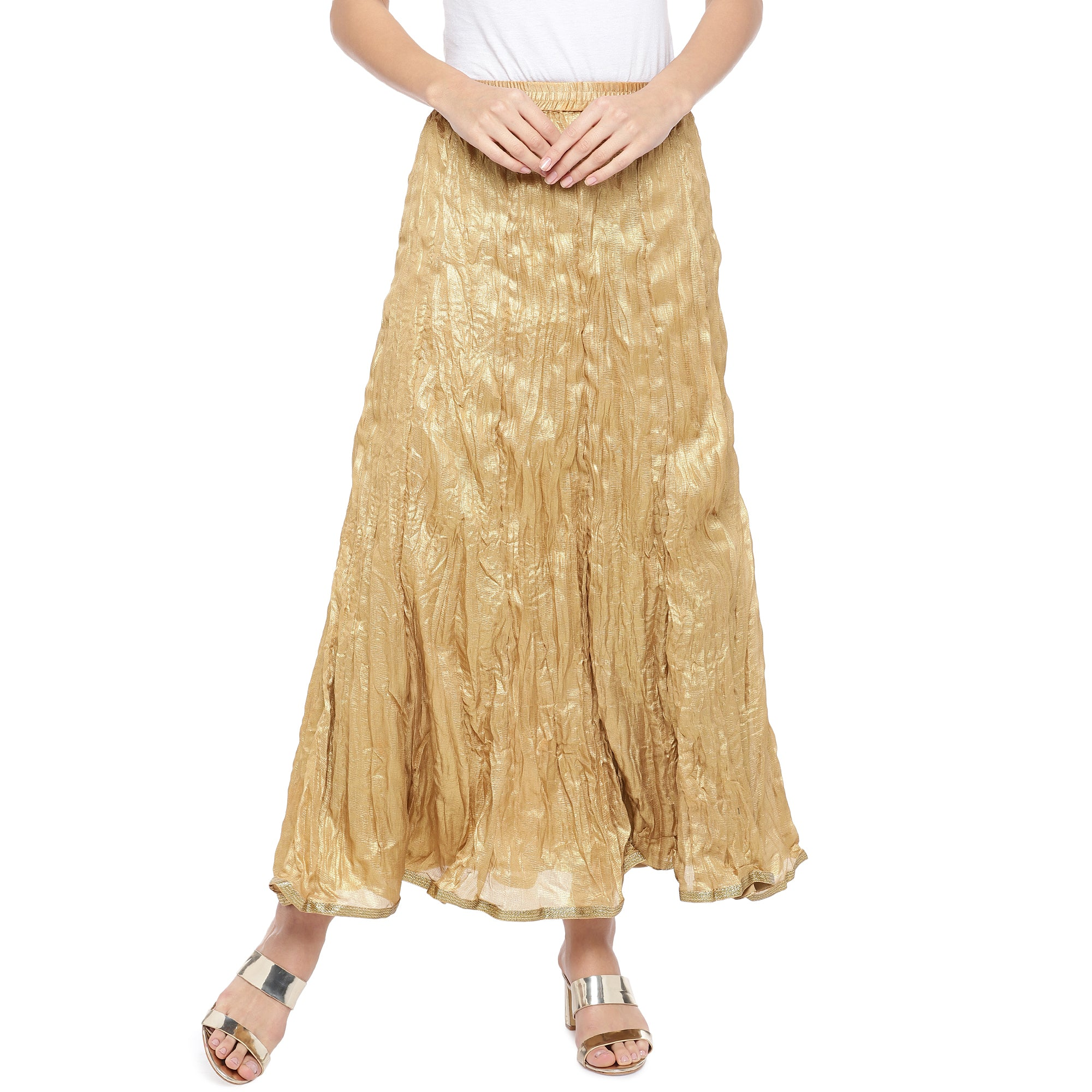 Gold-Coloured Solid Maxi Skirt-1