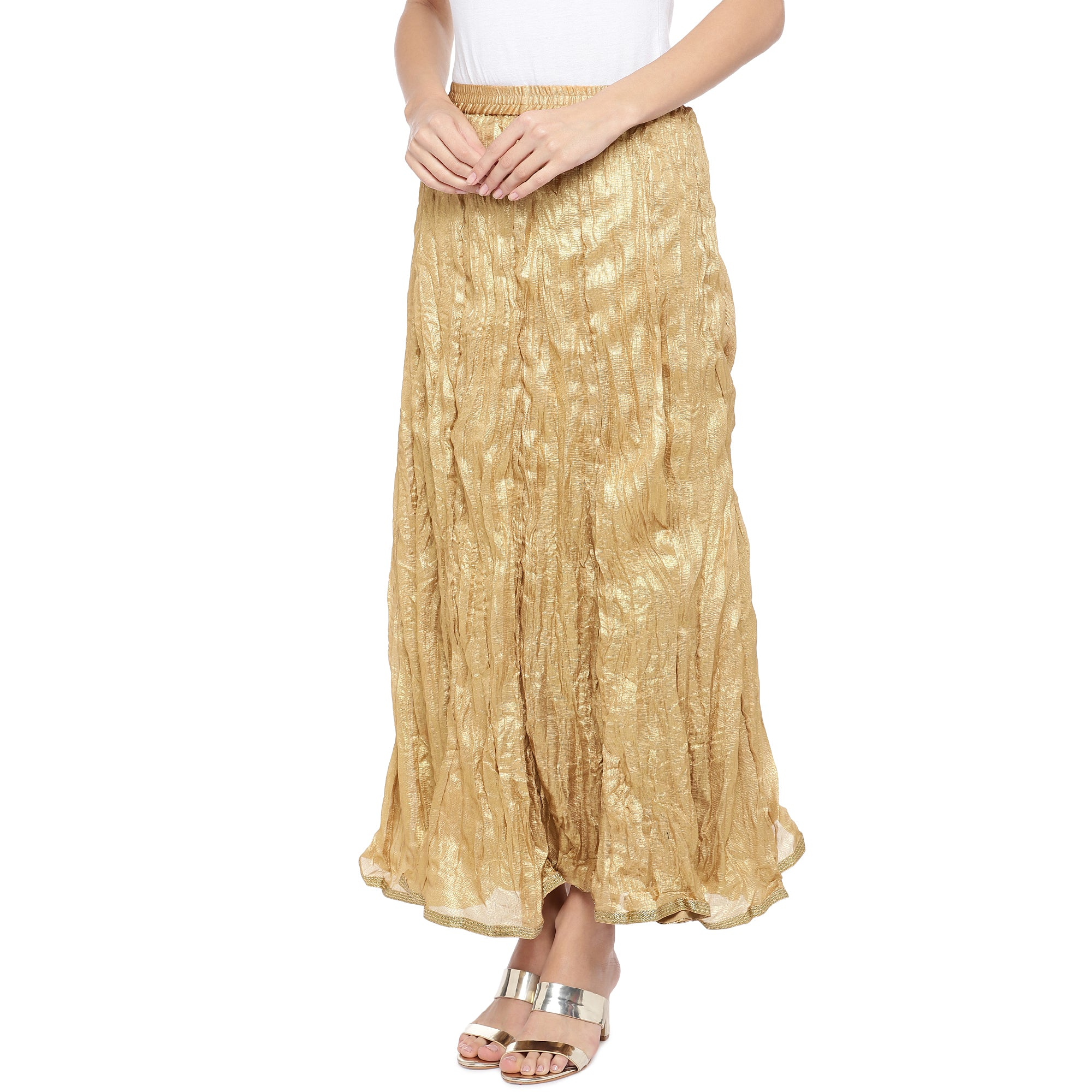 Gold-Coloured Solid Maxi Skirt-2
