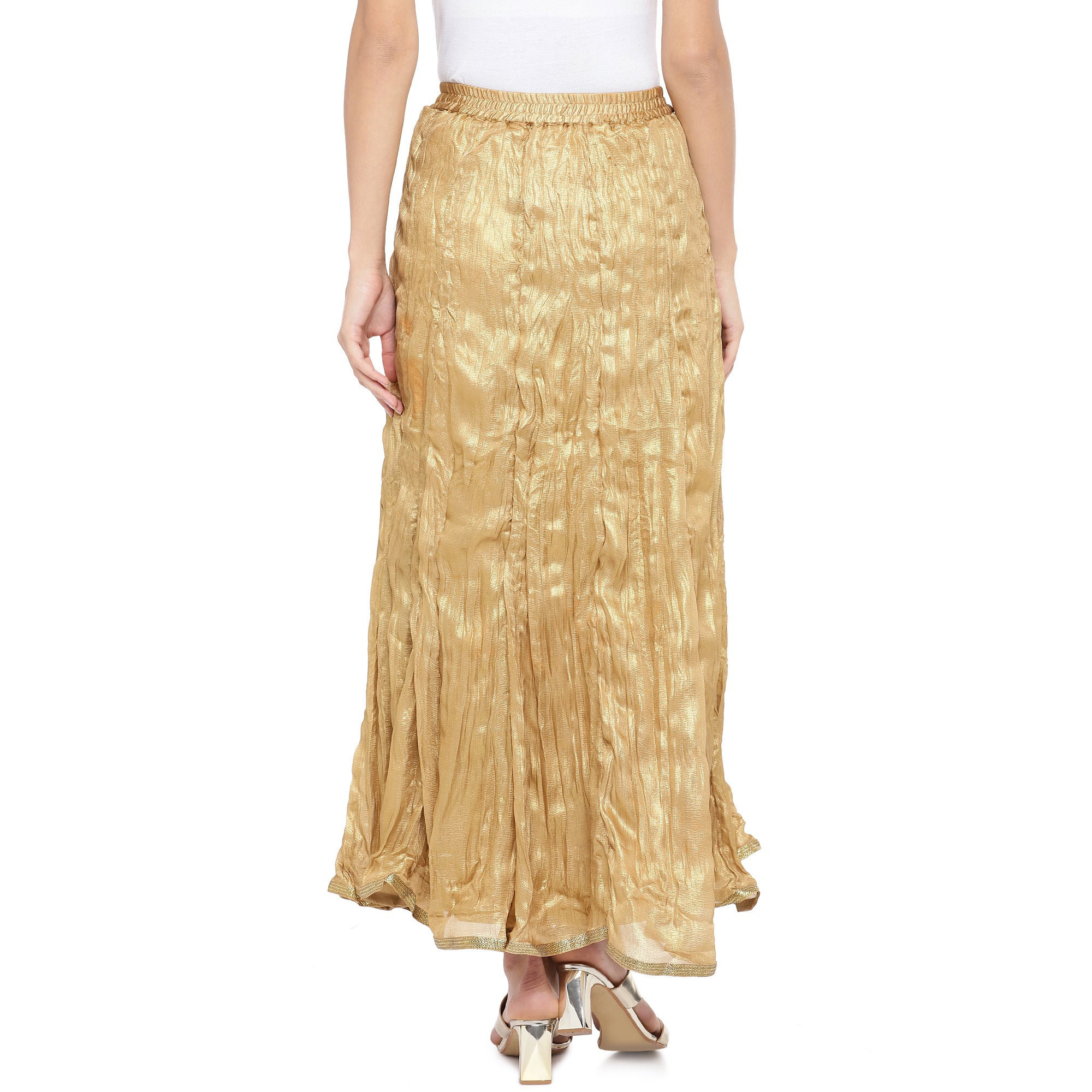 Gold-Coloured Solid Maxi Skirt-3