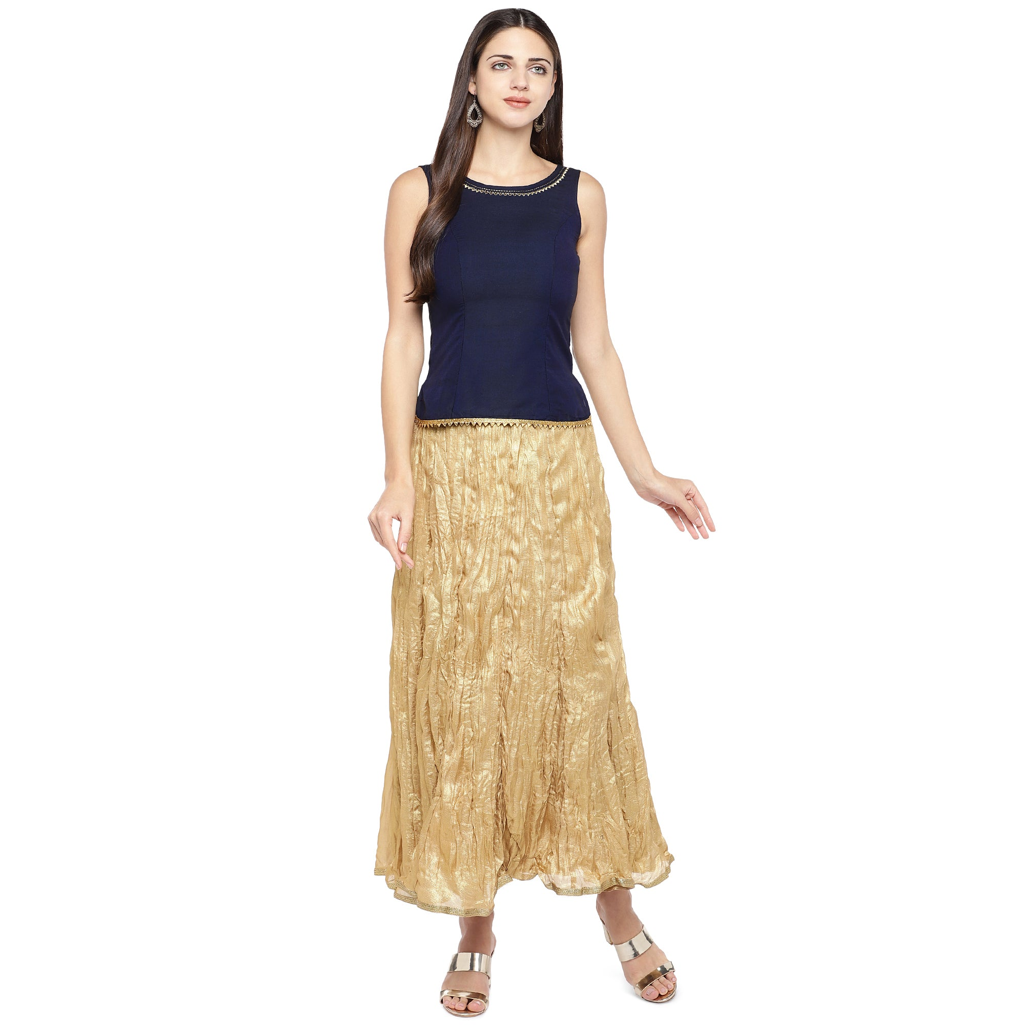Gold-Coloured Solid Maxi Skirt-4
