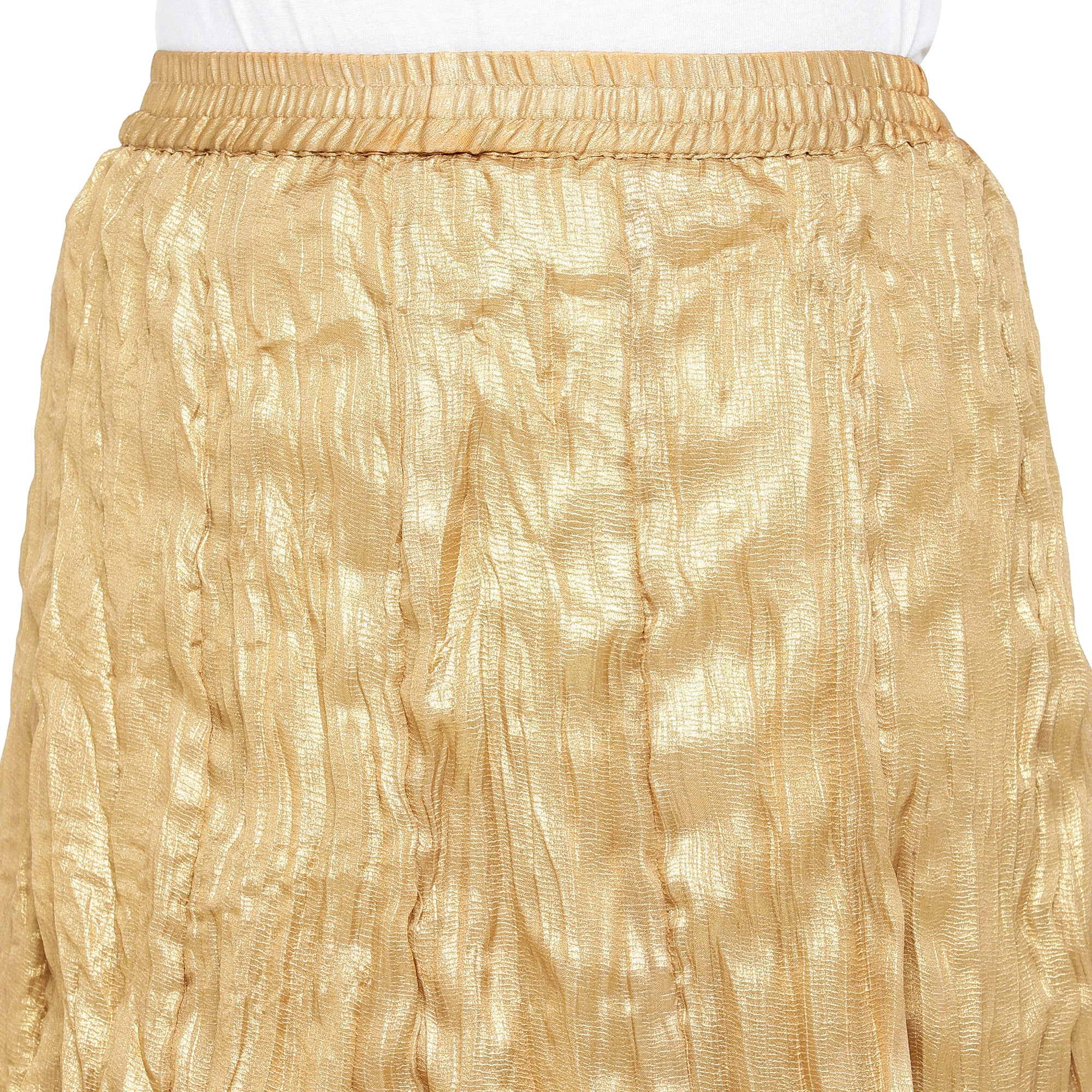 Gold-Coloured Solid Maxi Skirt-5
