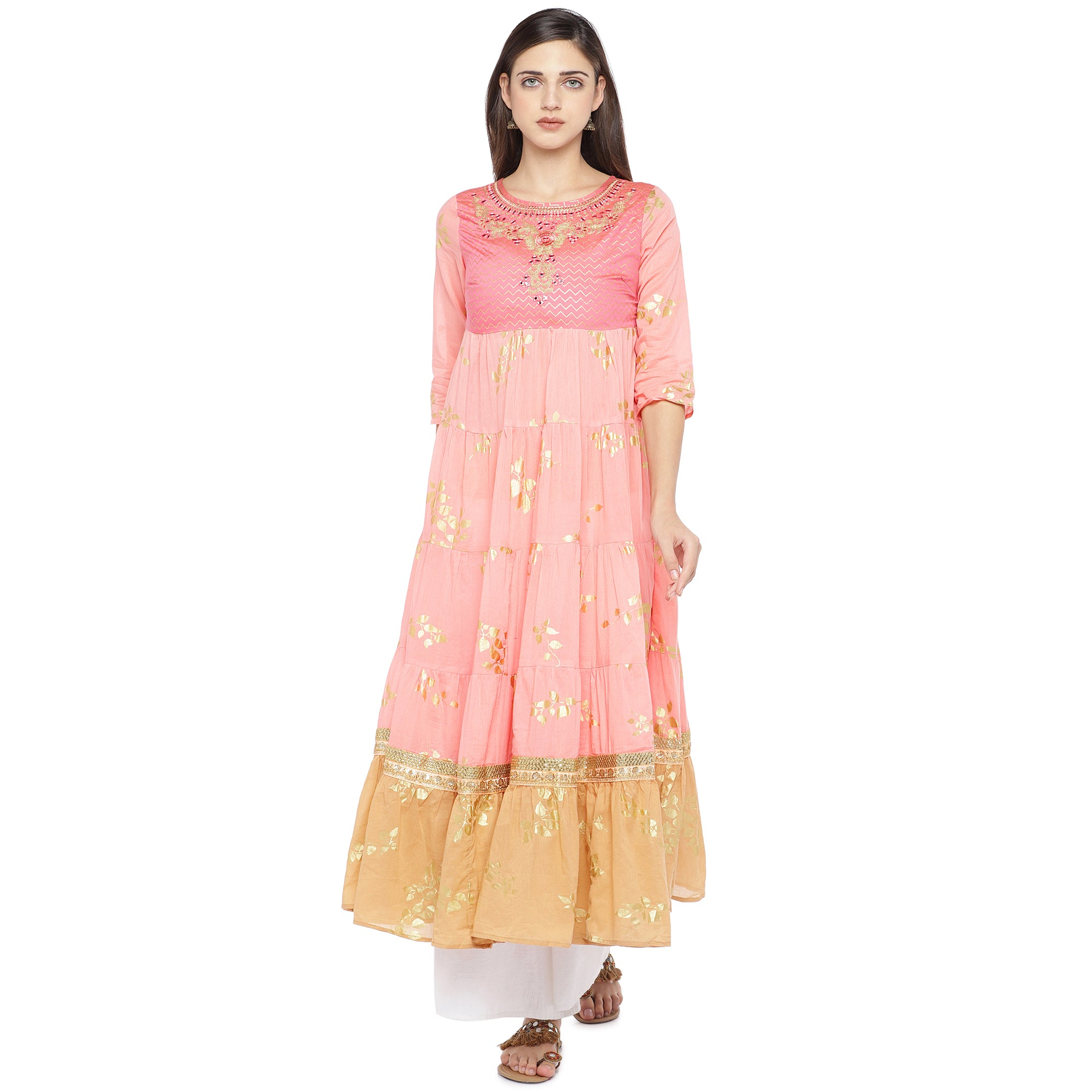 Peach-Coloured & Mustard Yellow Colourblocked Anarkali Kurta-1