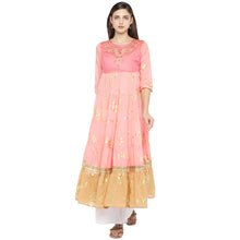 Load image into Gallery viewer, Peach-Coloured & Mustard Yellow Colourblocked Anarkali Kurta-1