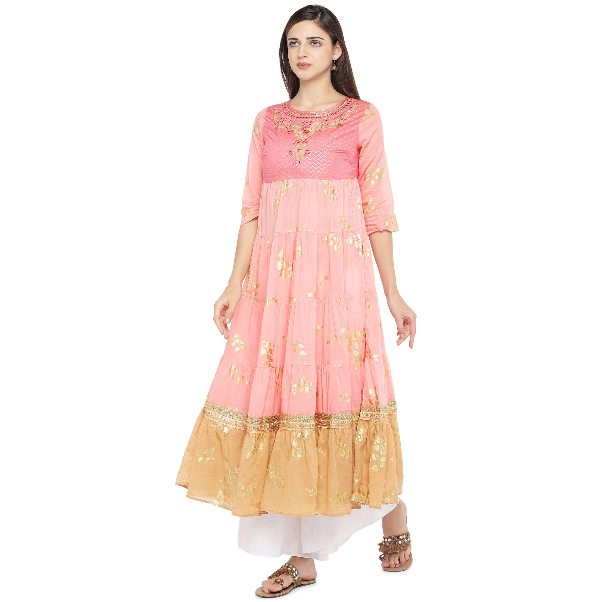 Peach-Coloured & Mustard Yellow Colourblocked Anarkali Kurta-2